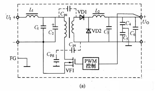 (a)内有LC滤波器的直流-直流变换器;    (b)内有共模扼流圈的直流-直流变换器   图2所示为噪声通过变压器的传播情况。由于变压器的一次与二次绕组为紧耦合,因此,高频信号通过一次与二次绕组间分布电容Cps进行耦合,共模噪声电流通过C5流向框体,正态噪声电流通过Cps流通,其大小随着与负载串联线路阻抗的衰减而减小。但经由C5的共模噪声通过接线与地之间分布电容等而增大,其中一部分变成了正态噪声,这样,负载上的噪声增大了。    图2 噪声通过变压器的传播情况   图3所示为直流-直流变换器内部产